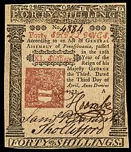 Colonial Currency. Pennsylvania. April 3, 1772. Forty Shillings. Red + Black EF+