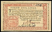 Colonial Currency, Pennsylvania. April 10, 1777. 40 Shillings. Red-Black. Choice
