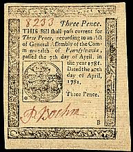 Colonial Currency Note, PA, April 20, 1781, 3d. Very Choice Extremely Fine+
