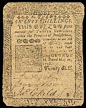 Colonial Currency. Pennsylvania. May 20, 1758. 20s Printed by BENJAMIN FRANKLIN