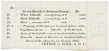 1862-Dated, Official Receipt For Taxes Paid On Slaves