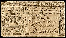Colonial Currency. May 12, 1755 New York Ten Pounds Note Only 200 Issued Rare!