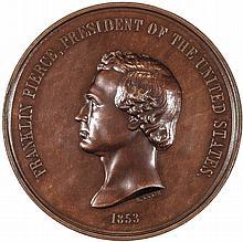 1853 Franklin Pierce Indian Peace Medal. Largest Size Small Date Julian IP-32b
