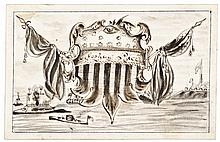 c 1863 Monitor and Merrimac Battle Hand-Drawn Pen + Ink Illustrated Calling Card