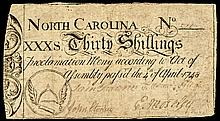 Colonial Currency Note, North Carolina. April 4, 1748. Thirty Shillings.
