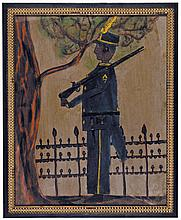 c. 1900-30s Superb Black Americana Folk Art Appliqué & Watercolor Artwork