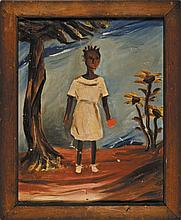 c. 1950 Mid 20th Century, Antique Naive Folk Art, Black Americana Oil Painting