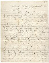 June 26, 1862-Dated Civil War Period, Autograph Letter Signed, Joseph Barber