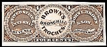 BROWN'S Bronchial Troches 4¢ U.S. Internal Revenue Stamp, Gem Proof on Card