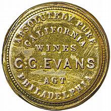Encased Postage Stamps 1¢, G. G. EVANS. California Wines Agent, Philadelphia