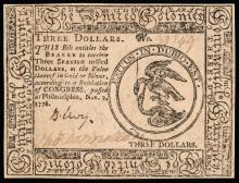 Colonial Currency, Continental, Nov. 2, 1776, $3, Benjamin LEVY