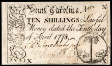 Colonial Currency, CHARLES PINCKNEY, JR. Signed South Carolina. April 10, 1778