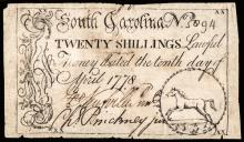 Colonial Currency. South Carolina. April 10, 1778. 20s. HORSE Vignette. Rarity