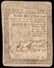 Colonial Currency, Printed by BENJAMIN FRANKLIN. Pennsylvania May 1, 1760. 20s.