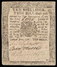 BENJAMIN FRANKLIN Printed Colonial Currency Note, PA. June 18, 1764, Very Fine