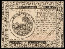 Continental Currency, May 10, 1775 Six Dollars Choice Crisp Uncirculated Note