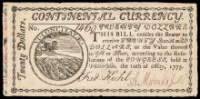 Continental Currency, May 10, 1775 $20 MARBLED BORDER 1st Issue PCGS EF-40 Note