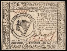 Continental Currency. November 29, 1775 Eight Dollars Choice Crisp Uncirculated