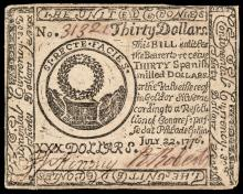 Continental Currency, July 22, 1776 Thirty Dollars Contemporary Counterfeit