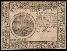 Continental Currency. May 20, 1777. $7 - First THE UNITED STATES Titled Issue