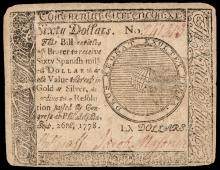 Continental Congress. September 26, 1778. Sixty Dollars. British Ctf. Type