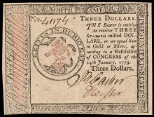 Continental Currency, January 14, 1779 Three Dollars PCGS About New-53