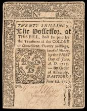 Colonial Currency, Connecticut. June 1, 1773. Twenty Shillings. No Cancel. VF