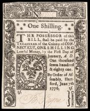 Colonial Currency, Connecticut. June 7, 1776. One Shilling. Cut Cancel Choice CU
