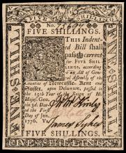 Colonial Currency, Delaware. January 1, 1776. 5s V. Choice Crisp Uncirculated