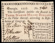 Colonial Currency, Georgia. 1777. Three Dollars. Typeset Note. PMG EF-40 EPQ
