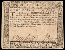 Colonial Currency, Maryland. December 7, 1775. Eight Dollars. Choice Very Fine