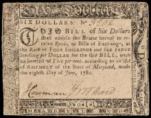 Colonial Currency, Maryland June 8, 1780 Six Dollars BLACK MONEY Rarity!