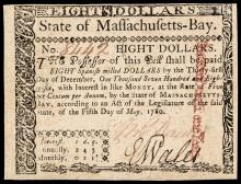 Colonial Currency, Massachusetts May 5, 1780 Eight Dollars Not Cancelled Ch. AU