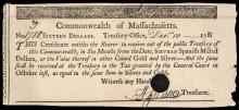 Colonial Currency, MA, December 10, 1781. $16 Spanish Milled Dollars Certificate