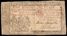 Colonial Currency, New Jersey. June 22, 1756. Three Pounds. Plate A. Very Fine