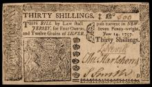 Colonial Currency, New Jersey. June 14, 1757. Thirty Shillings. Ch AU+ and Rare!
