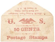 POSTAGE ENVELOPE. J. LEACH 86 Nassau ST N.Y. Writing Paper, 50 CENTS.