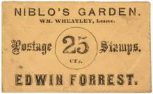 POSTAGE ENVELOPE. Niblo's Garden Edwin Forrest (New York) 25 CTS. FR. PE537.