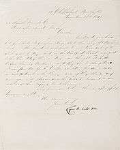 CYRUS W. FIELD, Signature On Letter Dated 1849, First Atlantic Telegraph Cable