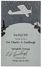 1927 CHARLES A. LINDBERGH Signed Dinner-Banquet Program, Springfield, Vermont