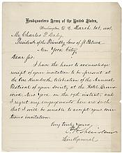 ULYSSES S GRANT, GROVER CLEVELAND & PHILIP H SHERIDAN Letters