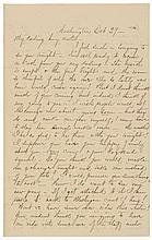 ELIZABETH B - LIBBIE - CUSTER. Oct 29, (1864) Civil War Autograph Letter Signed