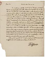 THOMAS JEFFERSON 1824-Dated Autograph Letter Signed Twice from Monticello