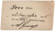 Rare Three Day Note from Bank of Pennsylvania Signed by Stephen Girard