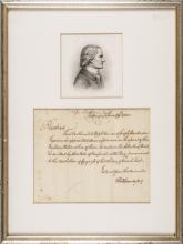 Charles Thomson Engraved Portrait w/US Treasury Related Autograph Letter Signed