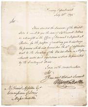 1795 OLIVER WOLCOTT JR. Autograph Note Signed, Secretary of the Treasury
