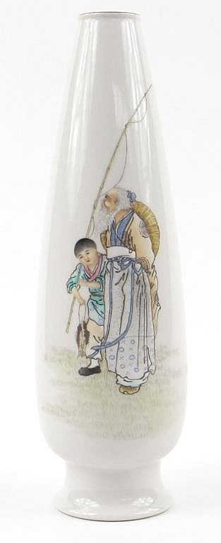 Chinese porcelain teardrop shaped vase enamelled