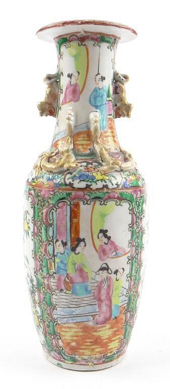 Chinese Canton porcelain vase with relief moulded