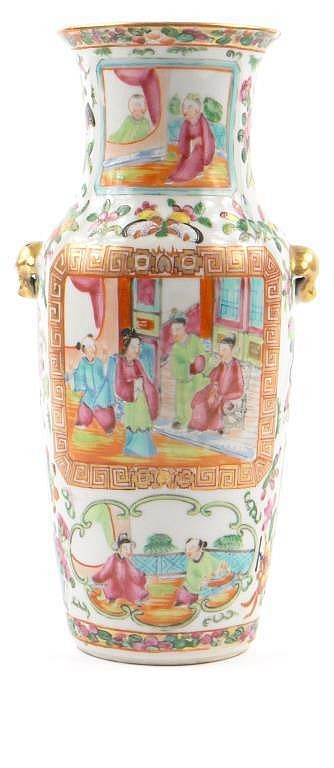 Chinese Canton porcelain vase with gilt animalia
