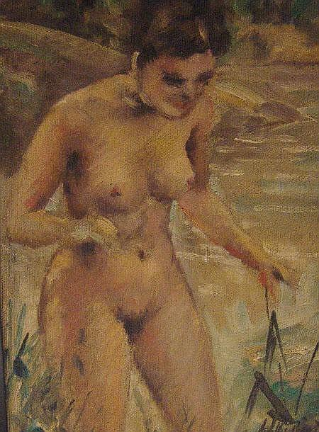 Andre Picot - Oil onto board of a nude female,